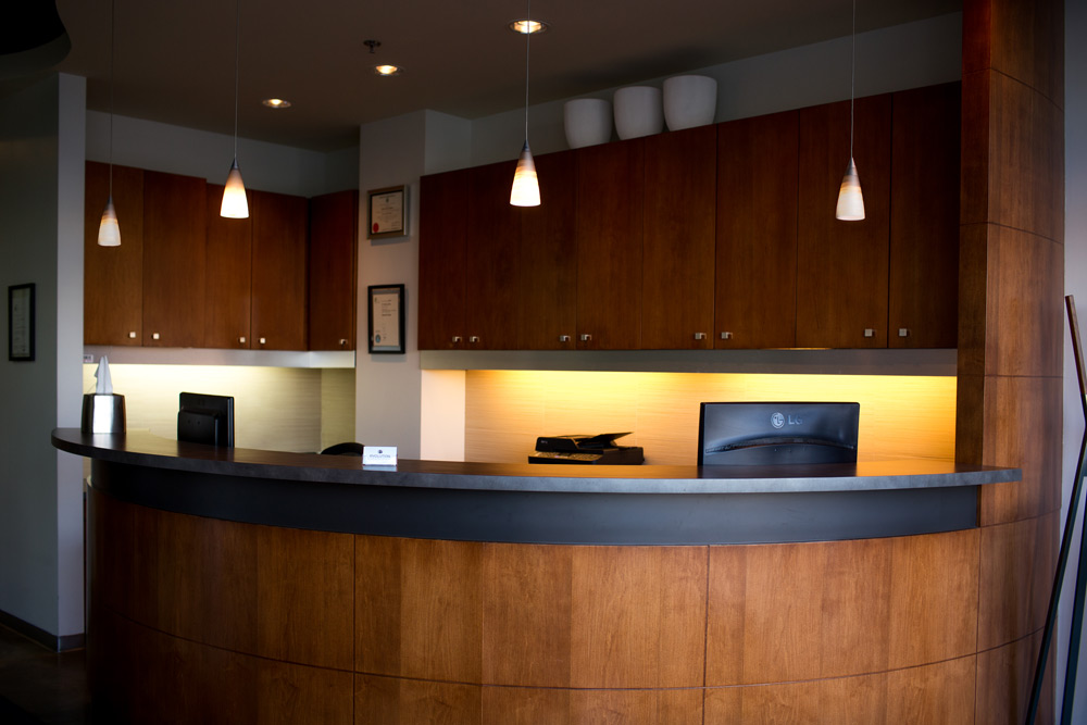 Front Desk Area of Evolution Dental in Calgary, AB